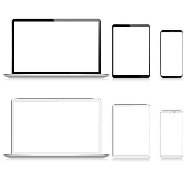bildbanksillustrationer, clip art samt tecknat material och ikoner med realistisk vector digital tablet, mobil telefon, smart telefon och laptop. moderna digitala enheter. svartvit färg - laptop