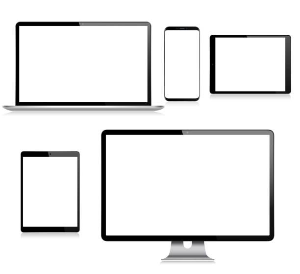 リアルなベクトルデジタルタブレット、携帯電話、スマートフォン、ラップトップ、コンピュータモニター。最新のデジタルデバイス - パソコン点のイラスト素材/クリップアート素材/マンガ素材/アイコン素材