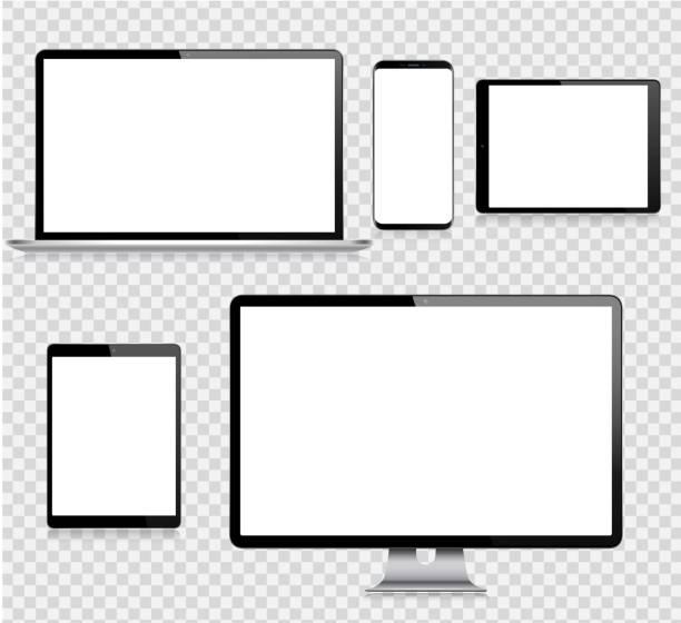 ilustrações, clipart, desenhos animados e ícones de tabuleta realística de digitas do vetor, telefone móvel, telefone esperto, portátil e monitor do computador. dispositivos digitais modernos - laptop