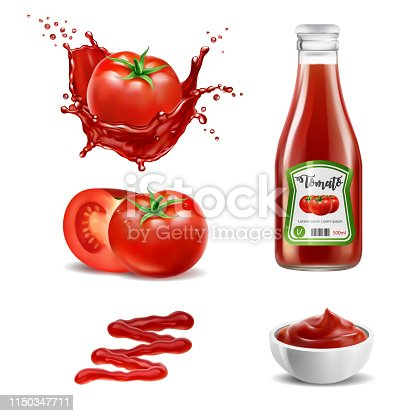 Realistic vector elements set of red tomatoes, splash of tomato juice, ketchup bottle, whole and a slice of tomato, squeezed out sauce line and sauce in the bowl