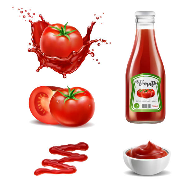 ilustrações de stock, clip art, desenhos animados e ícones de realistic vector elements set of red tomatoes, splash of tomato juice, ketchup bottle, whole and a slice of tomato, squeezed out sauce line and sauce in the bowl - sauce tomatoes