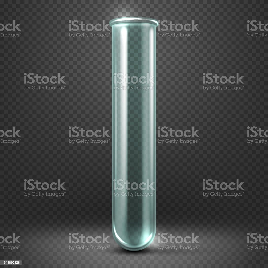 Realistic vector empty glass test tube template isolated on transparent vector art illustration