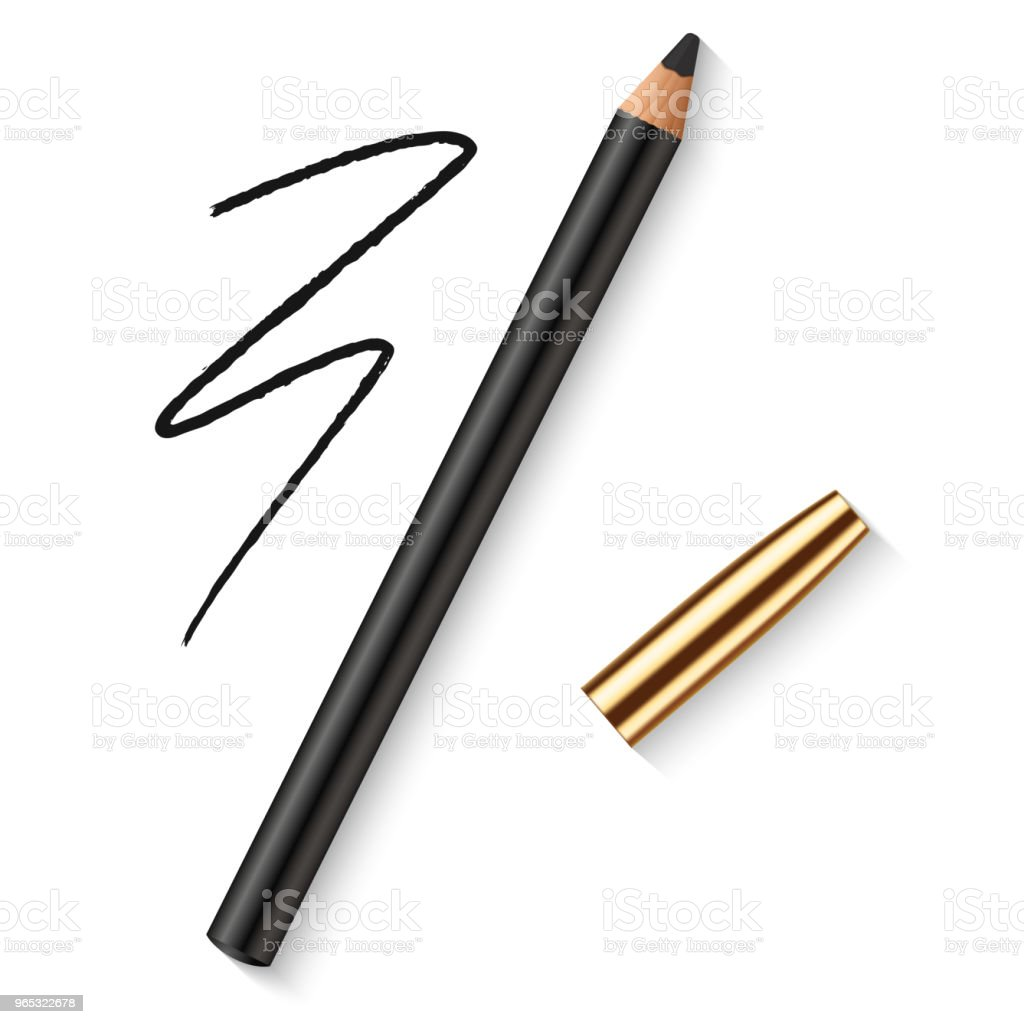 Realistic vector eyes pencil for beautiful makeup. Decorative cosmetic black eyeliner with golden cap and dark pencil strokes. royalty-free realistic vector eyes pencil for beautiful makeup decorative cosmetic black eyeliner with golden cap and dark pencil strokes stock illustration - download image now