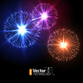 Realistic Vector fireworks exploding in the night sky