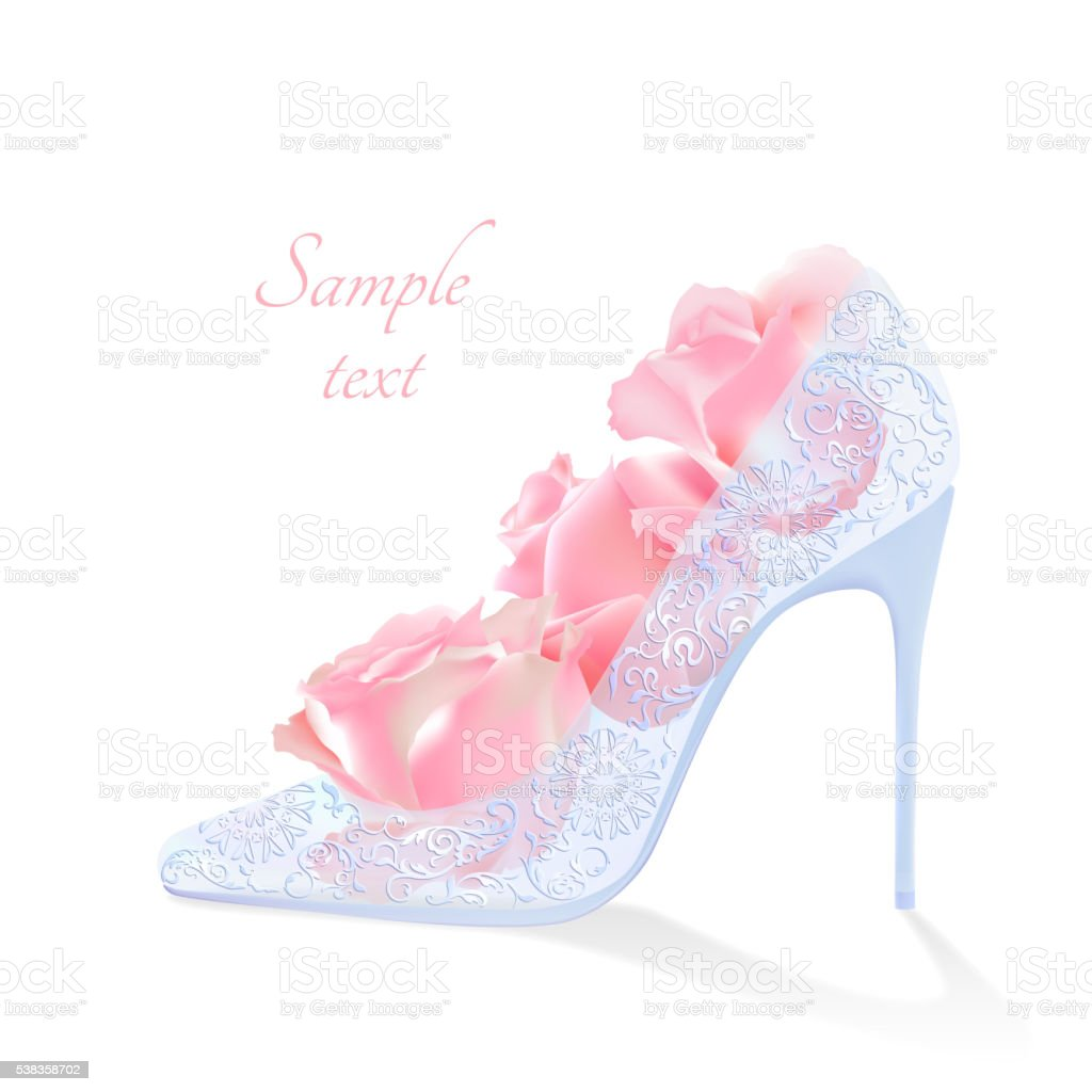 Realistic Vector Flowers And Shoes With Heels Stock Vector Art