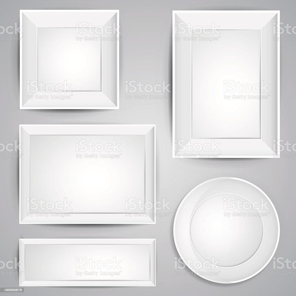 Realistische Vektorbilderrahmen Set Mit Schatten In Weißer Farbe ...