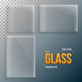 Realistic Vector Glass Frame Template Set