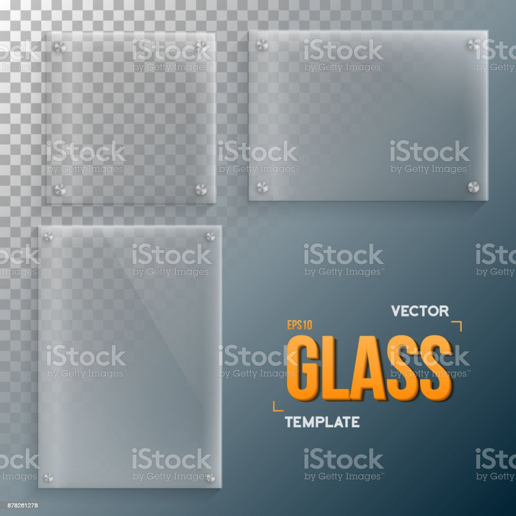 Realistic Vector Glass Frame Template Set vector art illustration