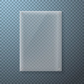 Illustration of Realistic Vector Glass Plate Template Icon. EPS10 Vertical Vector Plastic Frame Isolated on Transparent PS Style Background
