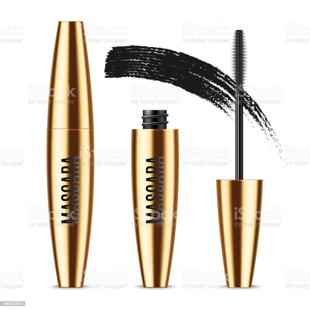 Realistic vector golden Mascara Bottle, brush and mascara Brush Strokes. Black wand, strokes and tube Isolated on white background. Fashionable cosmetics Makeup for Eyes. realistic vector golden mascara bottle brush and mascara brush strokes black wand strokes and tube isolated on white background fashionable cosmetics makeup for eyes - stockowe grafiki wektorowe i więcej obrazów bez ludzi royalty-free