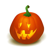 Realistic vector Halloween pumpkin with candle inside. Happy face Halloween pumpkin isolated on white background.. Vector Eps 10