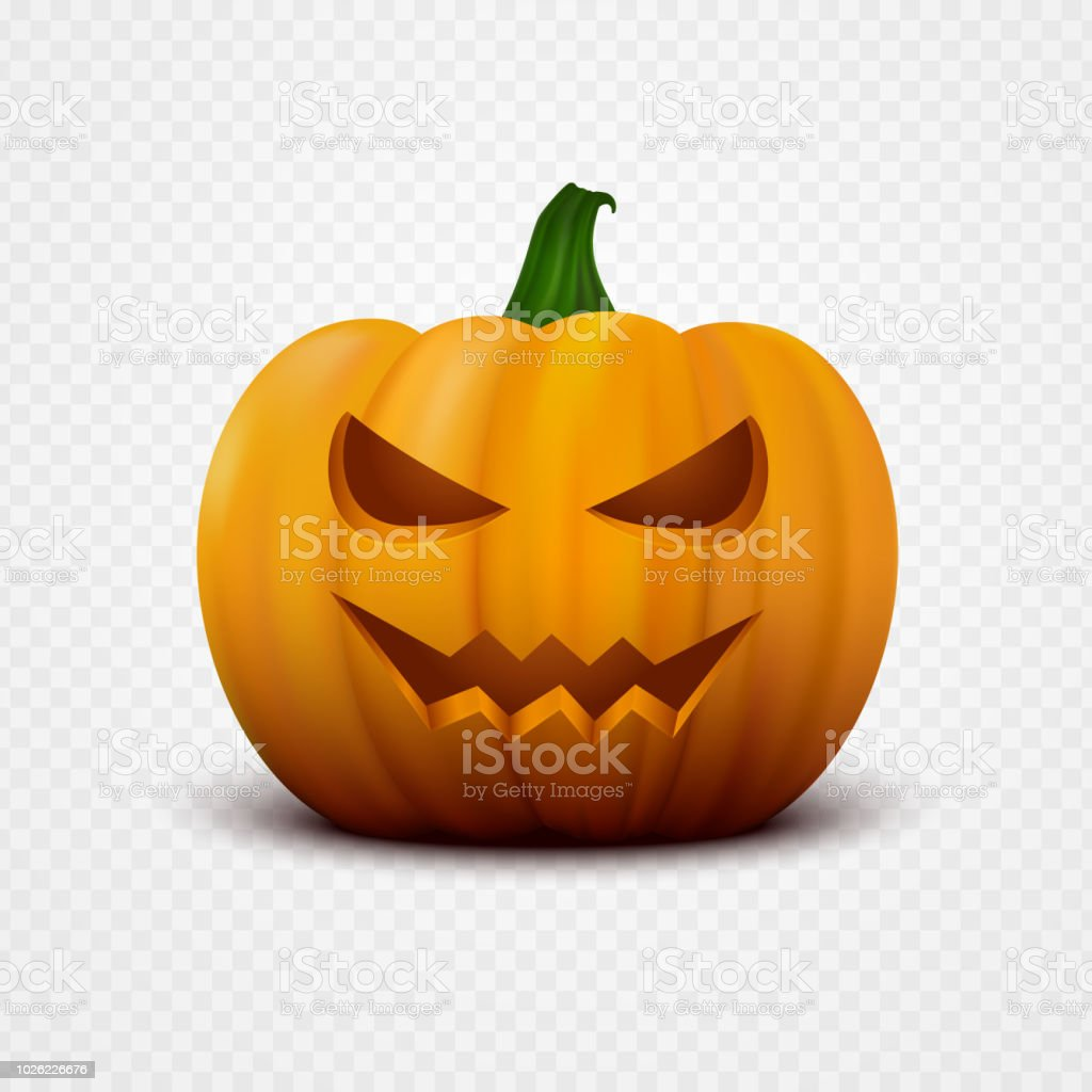 realistic vector halloween pumpkin with scary face jack o lantern