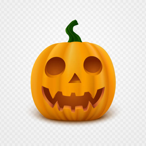 Realistic vector Halloween Pumpkin with scary face. Jack o lantern isolated on transparent background. vector art illustration
