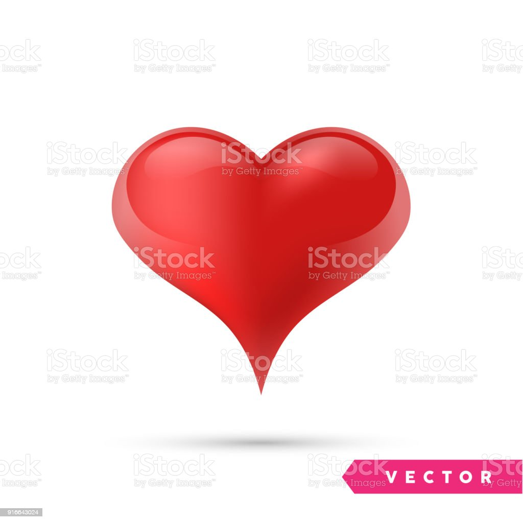 Realistic Vector Heart Isolated On White Valentines Day Greeting