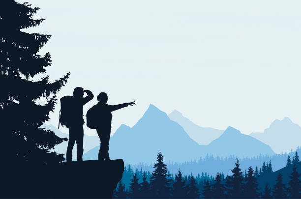 Realistic vector illustration of a night mountain landscape with trees and standing tourist with a backpack, with space for text Realistic vector illustration of a night mountain landscape with trees and standing tourist with a backpack, with space for text hiking stock illustrations