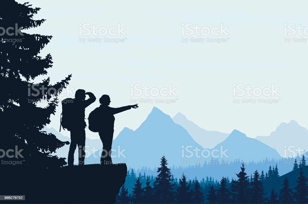 Realistic vector illustration of a night mountain landscape with trees and standing tourist with a backpack, with space for text vector art illustration