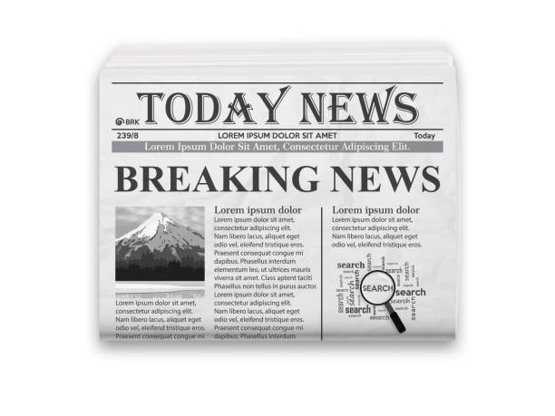 realistic vector illustration of black and white newspaper layout. - rock formations stock illustrations
