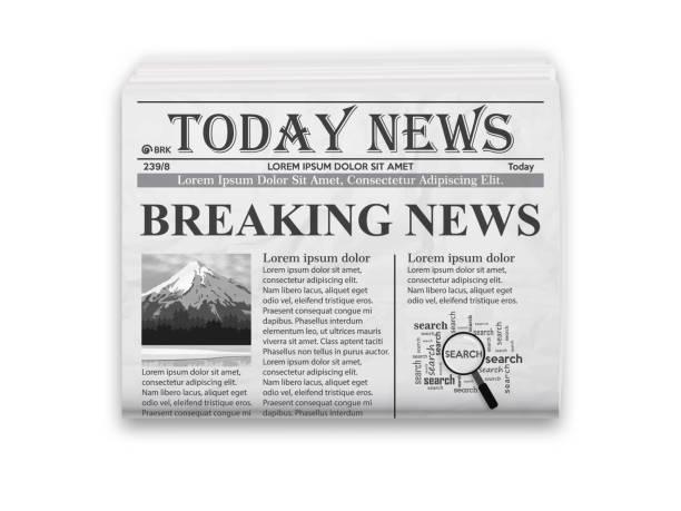 stockillustraties, clipart, cartoons en iconen met realistische vector illustratie van zwart-wit krant lay-out. - nieuwsevenement