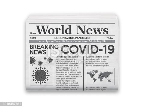 istock Realistic vector illustration of black and white newspaper layout. 1218357361