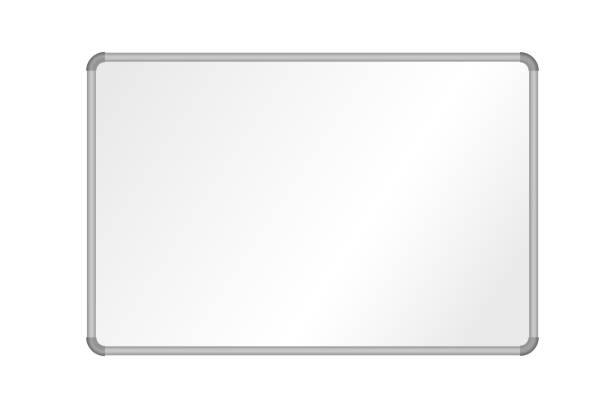 ilustraciones, imágenes clip art, dibujos animados e iconos de stock de ilustración vectorial realista de pizarra en blanco con marco de aluminio, aislado en fondo blanco - pizarra blanca
