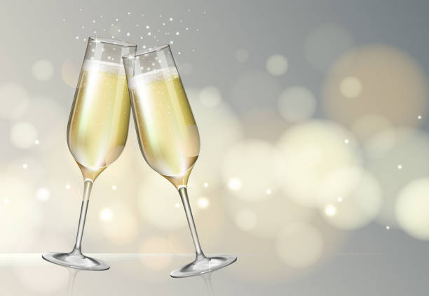 ilustrações, clipart, desenhos animados e ícones de ilustração realística do vetor de vidros do champanhe no fundo borrado da faísca da prata do feriado - brinde