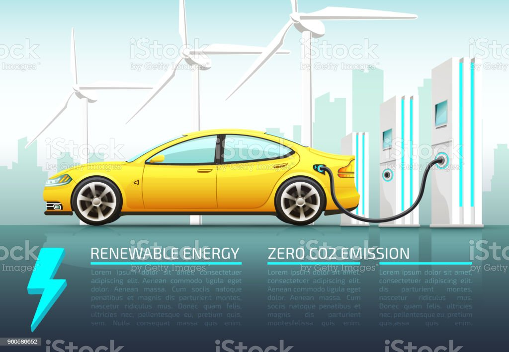 Realistic vector illustration of electric car. vector art illustration