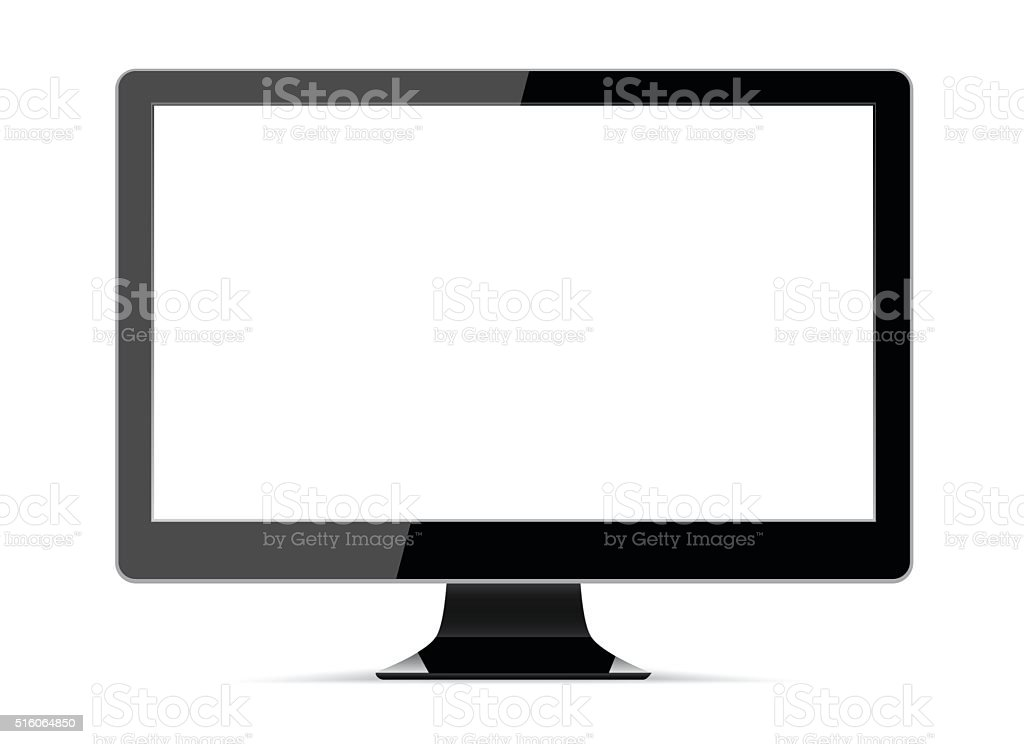 Realistic vector illustration of high definition computer display vector art illustration