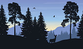 Realistic vector illustration of mountain landscape with forest, deer and eagle