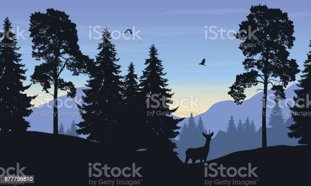 Realistic vector illustration of mountain landscape with forest deer vector id877799810?b=1&k=6&m=877799810&s=612x612&h= yuorkfvrmzjxpiecxg0hcejdannmbywxhc1f1clxf4=