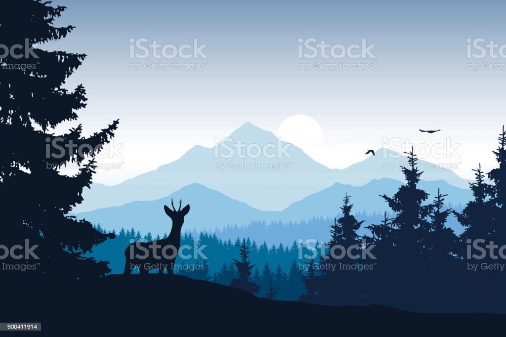 森、鹿のワシと山の風景の現実的なベクトル イラスト ベクターアートイラスト