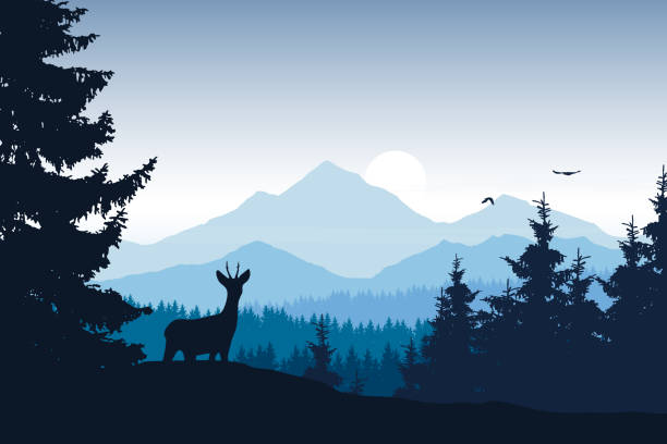 realistic vector illustration of mountain landscape with forest, deer and eagle - backgrounds silhouettes stock illustrations