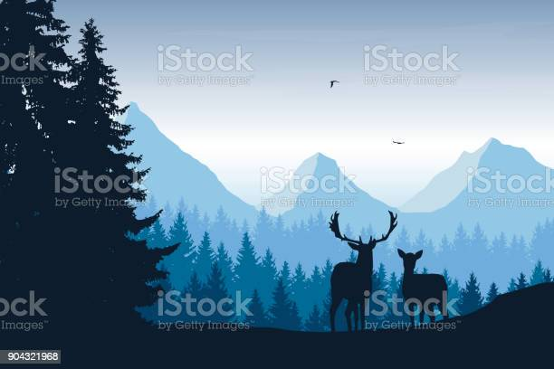 Realistic vector illustration of mountain landscape with forest deer vector id904321968?b=1&k=6&m=904321968&s=612x612&h=xzwhoxtwfufa2rlzfkca dq8m5ssmb dupzyezxfz5k=