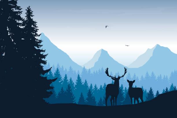 stockillustraties, clipart, cartoons en iconen met realistische vectorillustratie van berglandschap met bos, herten en eagle - vogel herfst