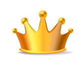 Realistic vector illustration of shiny golden metal king crown isolated on white background.