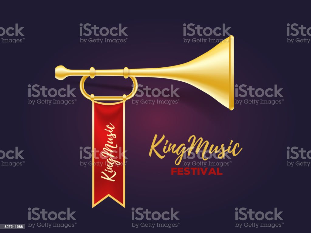 Realistic vector illustration of shiny golden metal trumpet with red ribbon and text on dark background. vector art illustration
