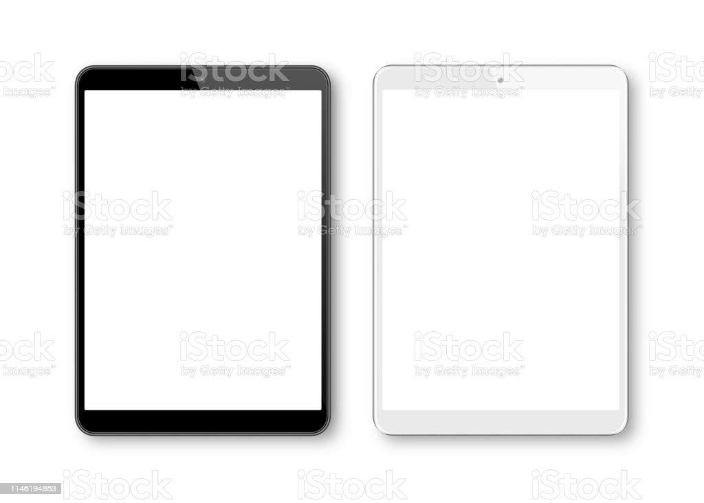 Realistic vector illustration of White and Black Digital Tablet  Template. Modern Digital devices - Grafika wektorowa royalty-free (Bez ludzi)