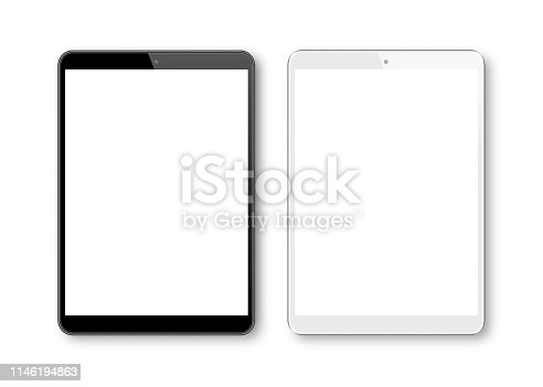 Realistic vector illustration of White and Black Digital Tablet  Template. Modern Digital devices