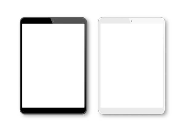 realistic vector illustration of white and black digital tablet  template. modern digital devices - tablet stock illustrations