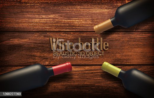 istock Realistic Vector illustration with three wine bottles on a wooden background. View from above. Alcohol close-up. Soft glares.Template for design, advertising, branding. 1265227263