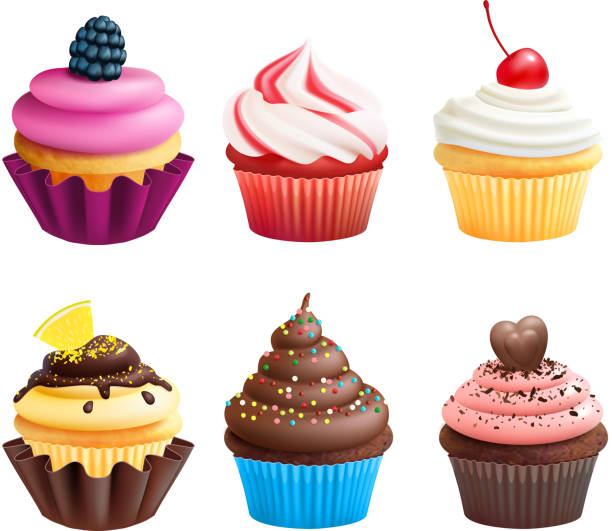 Realistic vector illustrations of cupcakes. Sweets for birthday party Realistic vector illustrations of cupcakes. Sweets for birthday party. Sweet dessert food and birthday yummy cupcake of set cupcake stock illustrations
