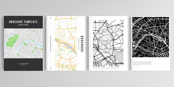 Realistic vector layouts of cover mockup design templates in A4 format with urban city map of Paris for brochure, cover design, flyer, book design, magazine, poster.
