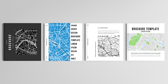 Realistic vector layouts of cover mockup design templates with urban city map of Paris for square brochure, cover design, flyer, book design, magazine, poster.