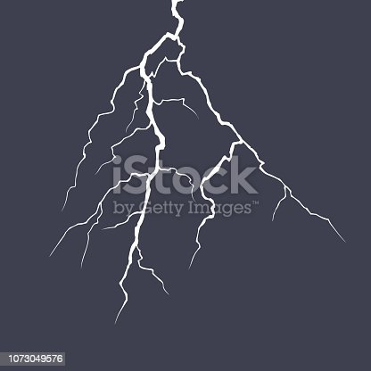 Realistic vector lightning on checkered background. Bright, electric lightning. Vector stock illustration.