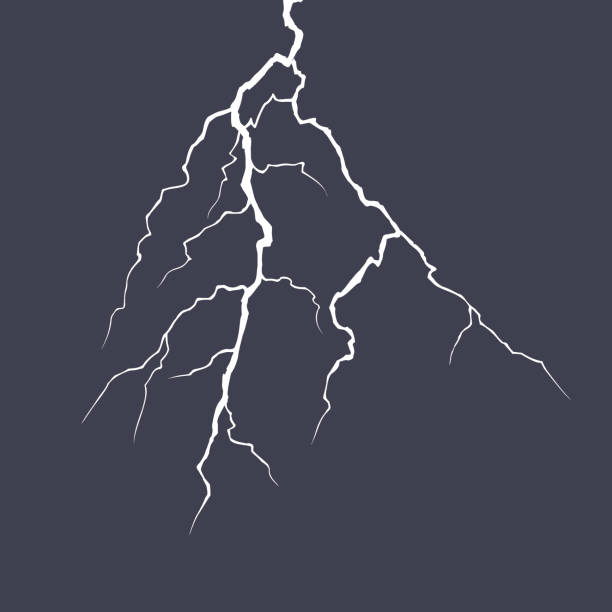 Realistic vector lightning on checkered background. Bright, electric lightning. Vector illustration. Realistic vector lightning on checkered background. Bright, electric lightning. Vector stock illustration. lightning stock illustrations