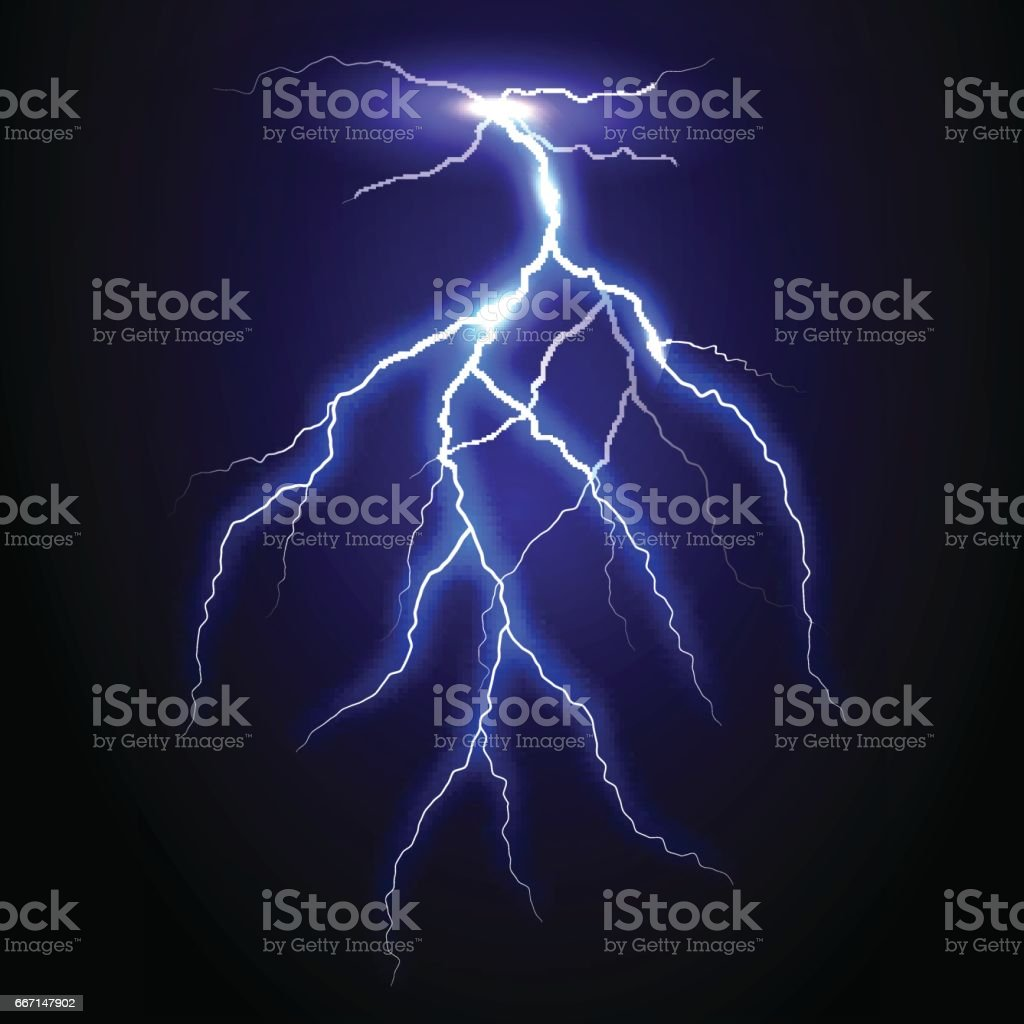 Realistic vector lightning on checkered background. Bright, electric lightning - ilustração de arte vetorial