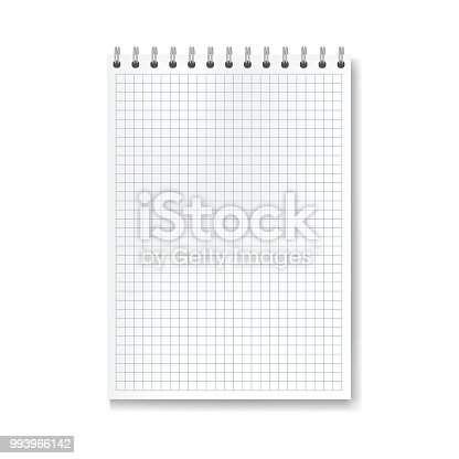 Realistic vector vertical math ruled notebook template. Copybook with blank quad paper on metallic ring spiral binder, organizer mockup for your education or business text