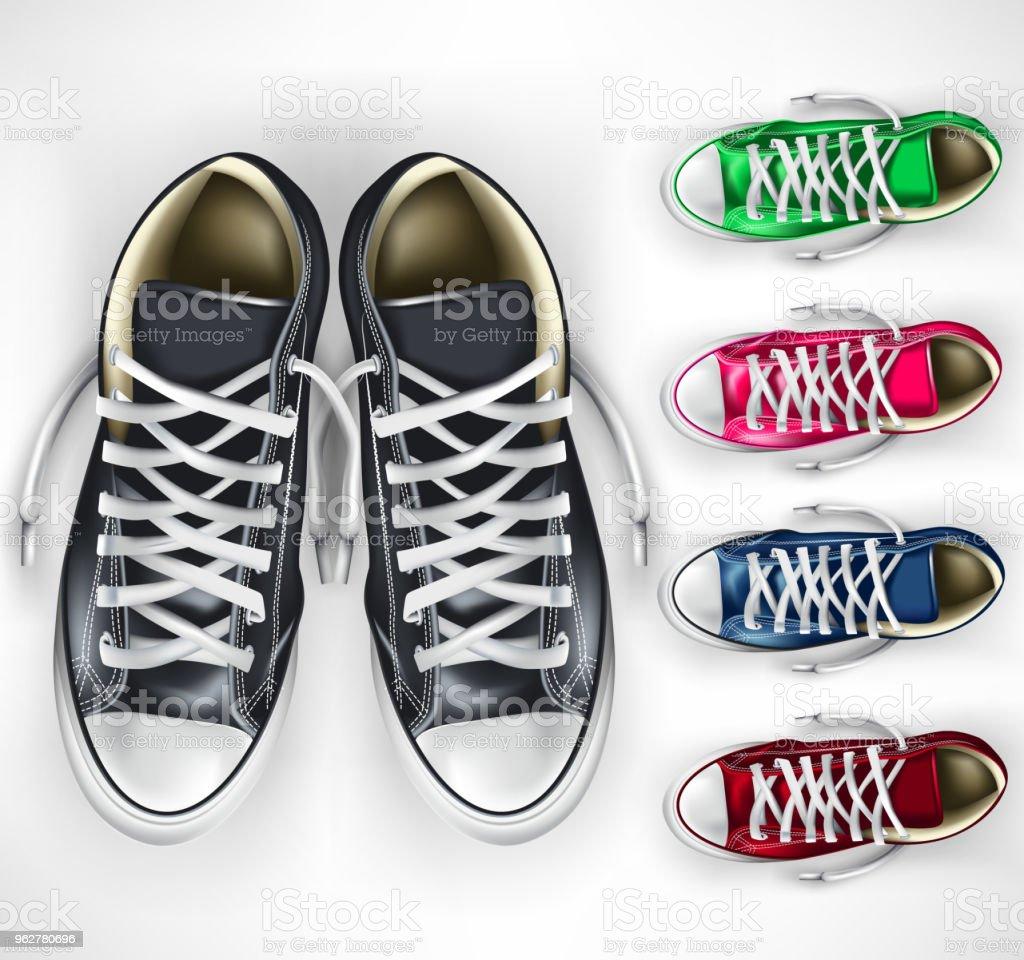 3D Realistic Vector Mesh Pair of Black Sneakers Plus Different Color Variations Set - arte vettoriale royalty-free di Abbigliamento