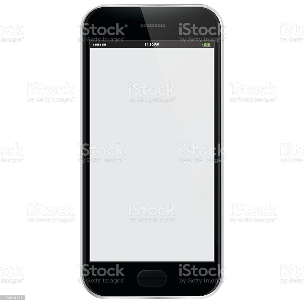 Realistic Vector Mobile Phone - Black vector art illustration