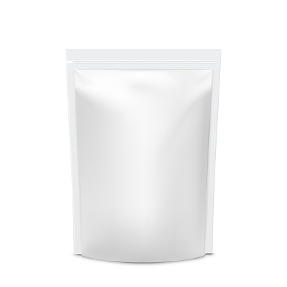 Realistic vector mock up Foil Food Stand Up Flexible Pouch Sachet. White Bag Packaging template  Isolated On White Background.