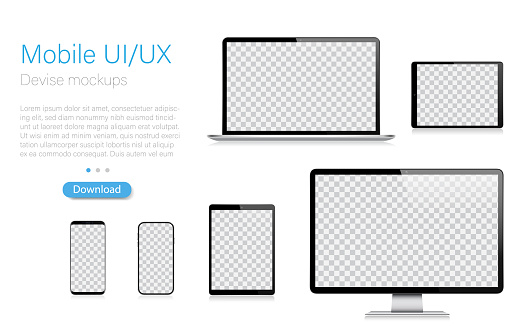 Realistic Vector Mockup Digital Tablet, Mobile Phone, Smart Phone, Laptop and Computer Monitor. Modern Digital Devices. EPS 10.